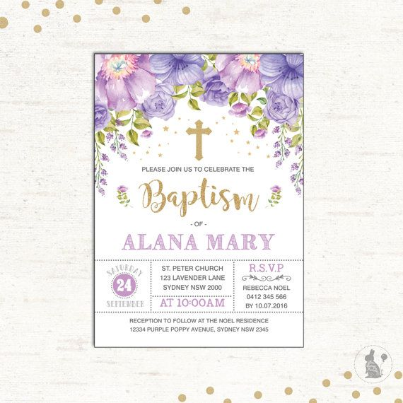 Baptism Invitation Purple Gold Christening Printable Invitation - invitation for baptism girl