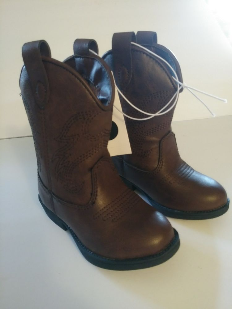 dbea9aef6ae Cat and Jack Girls Boys Size 9 Western Cowboy Boots Ollie Brown Back ...
