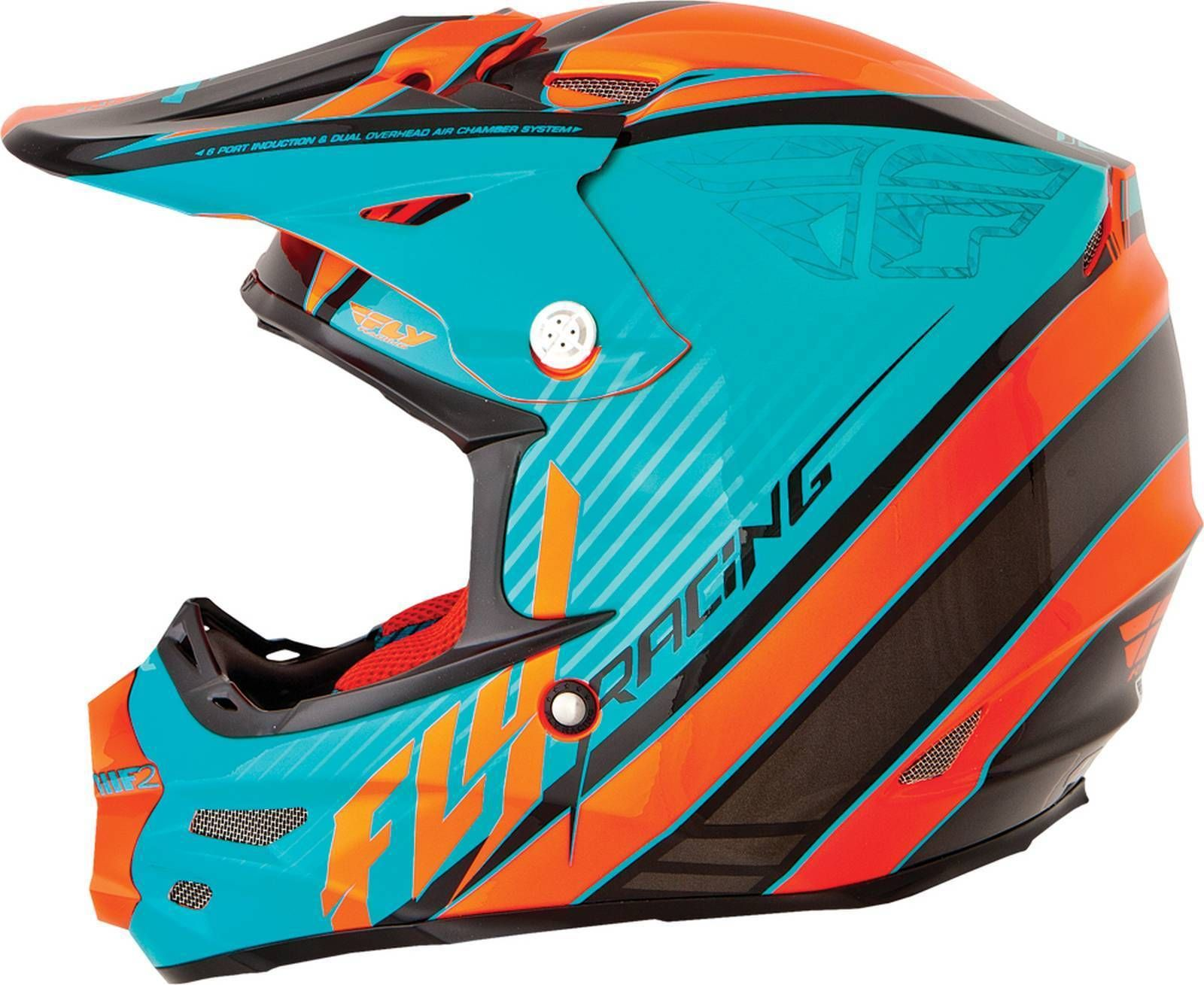Fly Racing F2 Carbon Fastback Graphic Adult Helmet Teal Orange