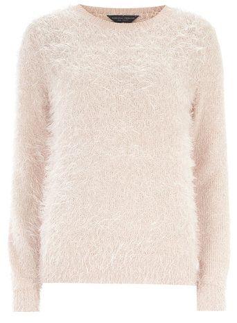 Tall nude fluffy knit jumper