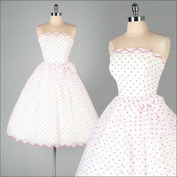 Vintage 1950s Dress White Chiffon Red Polka by millstreetvintage ...