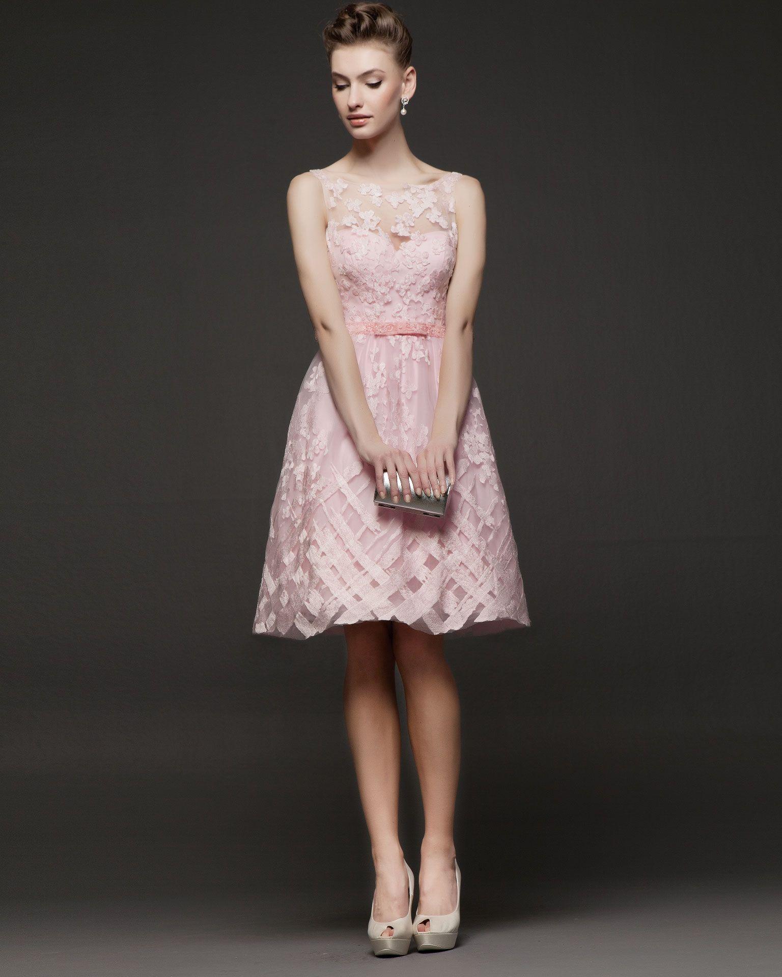 Vestidos de fiesta cortos rosa clara 2014