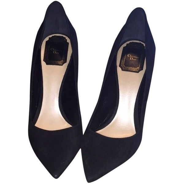 e4136b1c53d Pre-owned Dior Black Dior Black Suede Pumps ( 320) ❤ liked on Polyvore  featuring shoes