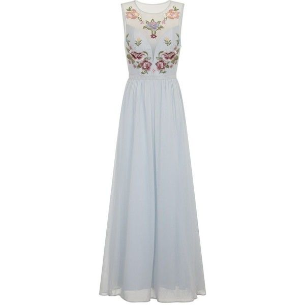 Chi Chi London Embroidered Bodice Maxi Dress ($115) ❤ liked on Polyvore featuring dresses, blue, women, plunge maxi dress, cocktail dresses, maxi dresses, evening dresses and evening maxi dresses
