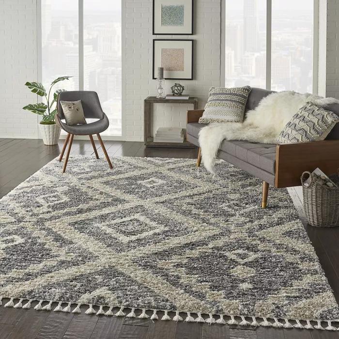 "7'10""x10'6"" rectangle loomed area rug beige  nourison in"