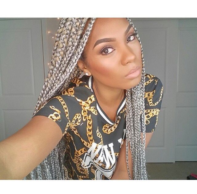 Gray Box Braids With Images Crochet Braids Hairstyles