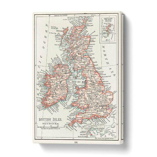Leinwandbild Vintage-Karte der Britischen Inseln East Urban Home Größe: 76 cm H x 50 cm B #britishisles