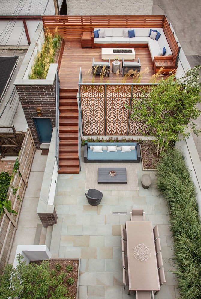 Urban Outdoor Retreat Multilevel outdoor entertaining space for a city home Modern Rooftop Terrace Patio Architectural Detail by Mia Rao Design #rooftopterrace
