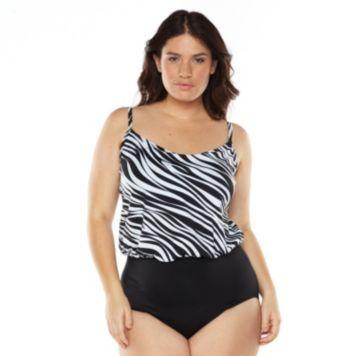 Great Lengths Tummy Slimmer Long Torso Zebra One-Piece Swimsuit - Women's  Plus Size/