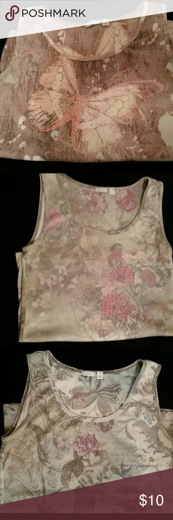 Embellished tank tops - 3 tops 3 really cute embellished tank tops. Tasteful rhinestones give these tank tops the flare you will love. All are in very good to like new condition. No stains or tears. Apt. 9 Tops Tank Tops