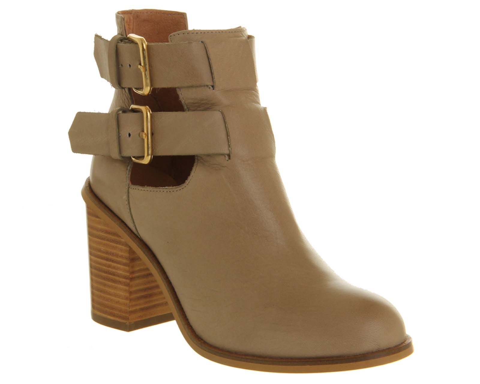 Office Understanding 2 Cut Out Metal Heel Taupe Leather Ankle Boots
