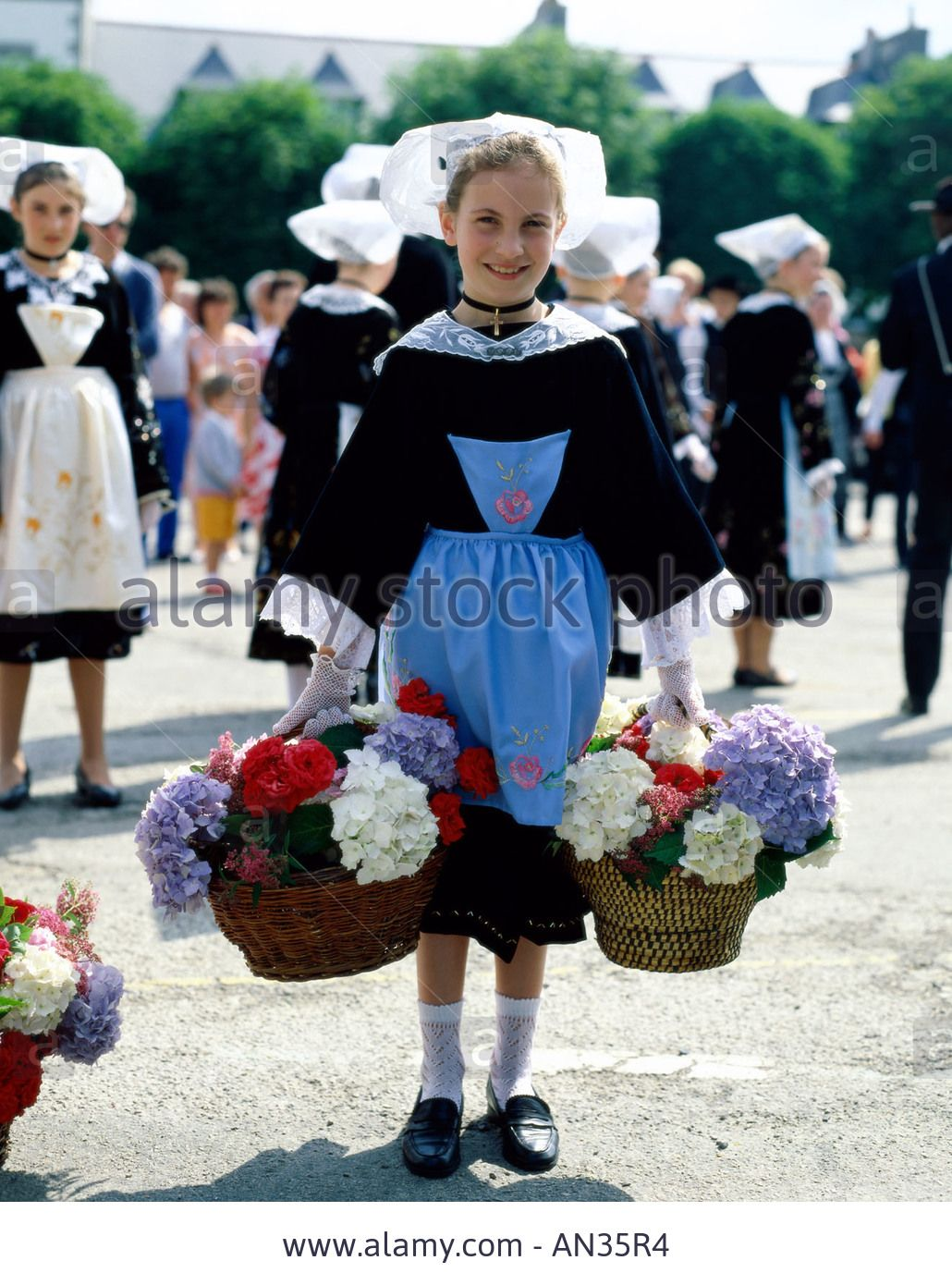 Breton Traditional Dress Girl In Traditional Costume
