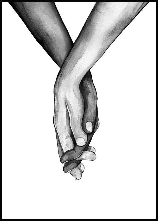 Illustrationsposter von zwei Menschen, die gegenseitig ihre Hände halten. Es gibt ein bestimmtes Gefühl, dass man häufig erlebt, wenn man die Hand seines Geliebten hält. Es ist ein Zeichen der Zuneigung und des Wunsches, jemandem nahe zu sein.