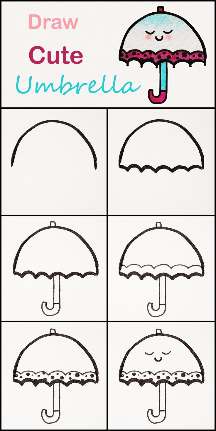 Drawing Ideas;Learn how to draw a cute umbrella step by ...