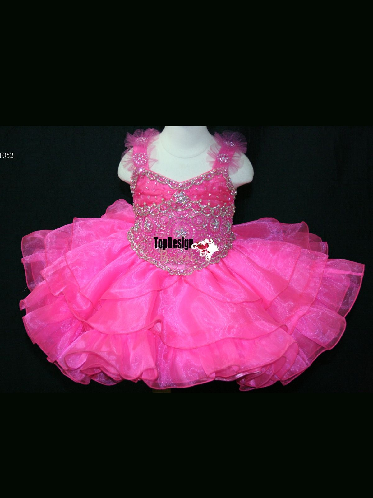 NEW BEADED V NECK NEON PINK BABIES PAGEANT DRESS BR1052 LITTLE GIRL