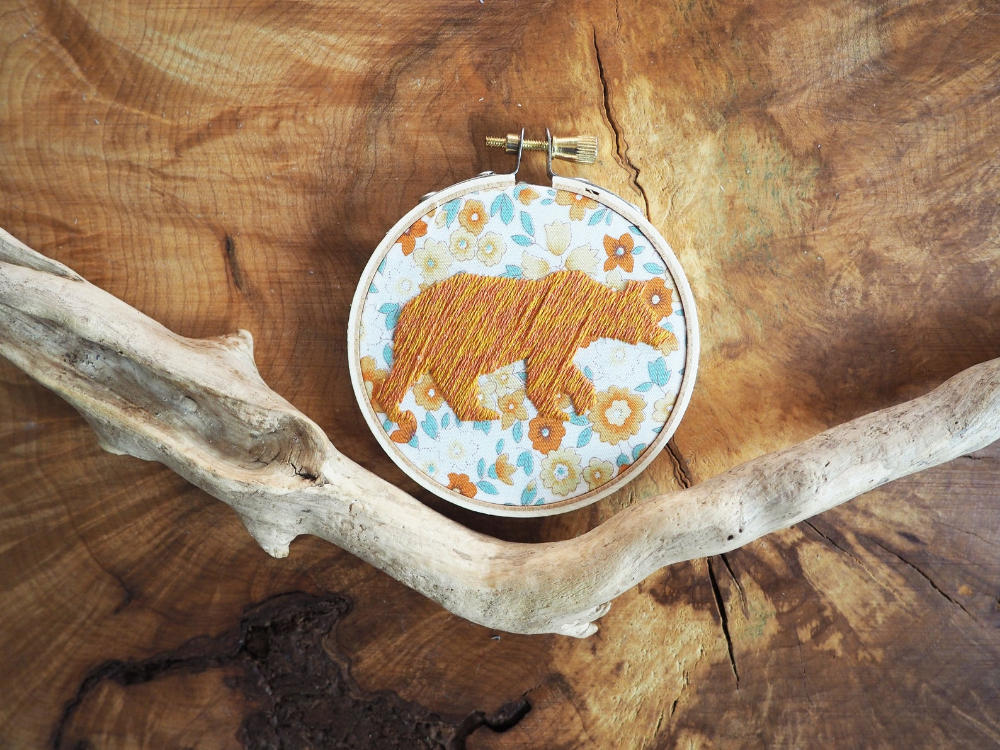 """Silhouette Bear Embroidery. Christmas Ornament. 3"""" Hoop Art. Animal Embroidery. Silhouette Art. Wall Art. Nursery Art. Gifts under 25"""