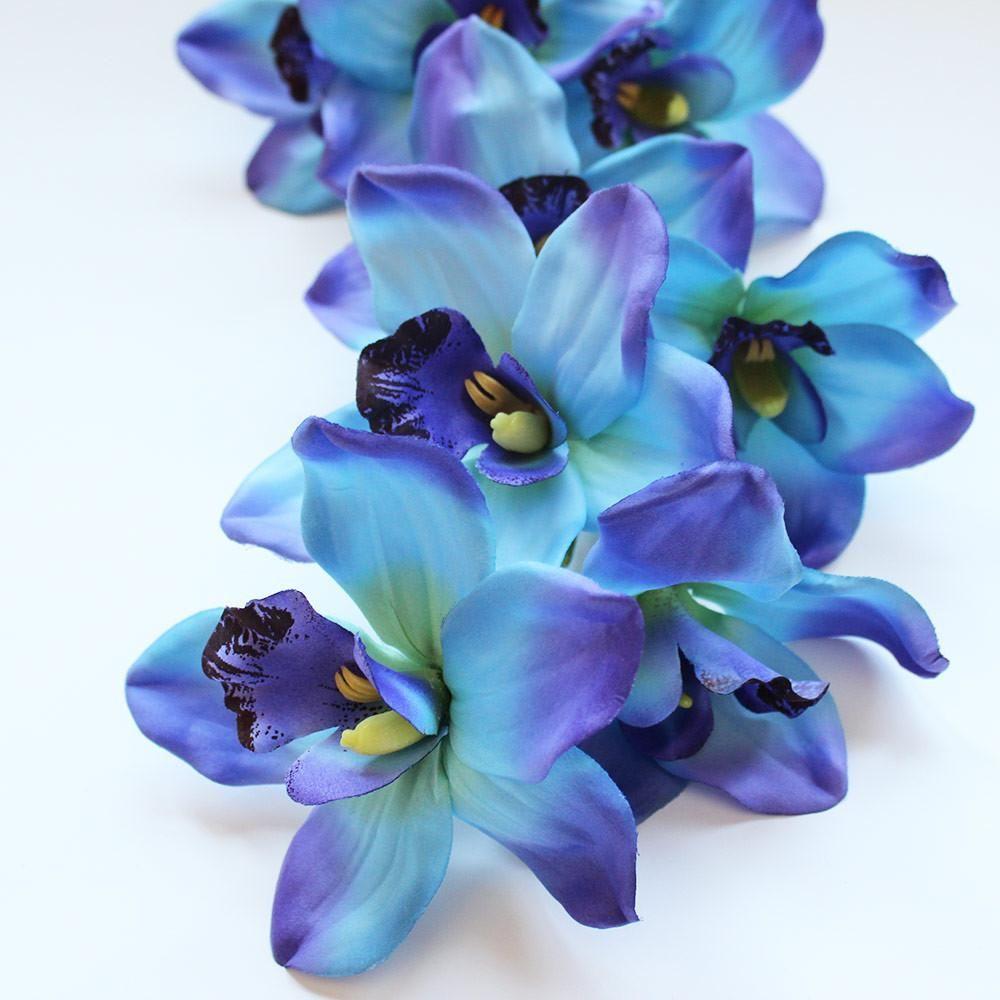 Blue And Purple Silk Cymbidium Orchid Spray Cymbidium Orchids Flower Spray Silk Flowers Wedding