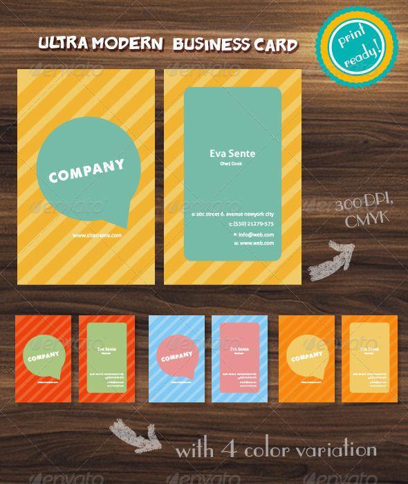 Ultra Modern Watercolor Striped Business Card Modern Business