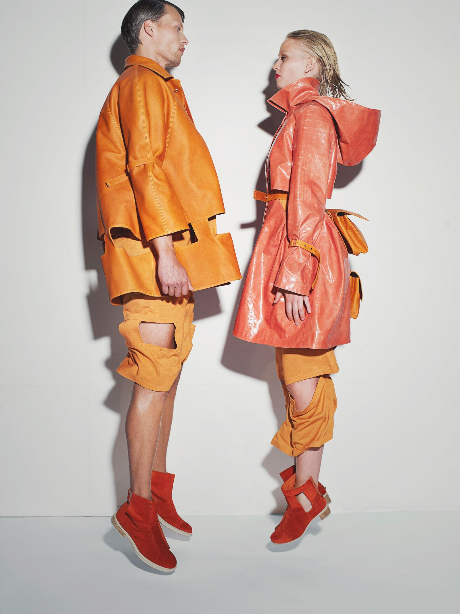 Love the bold graphic shapes of these coats.
