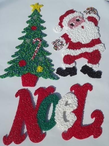 vintage popcorn plastic holiday decorations dancing santa christmas tree - Vintage Plastic Christmas Decorations