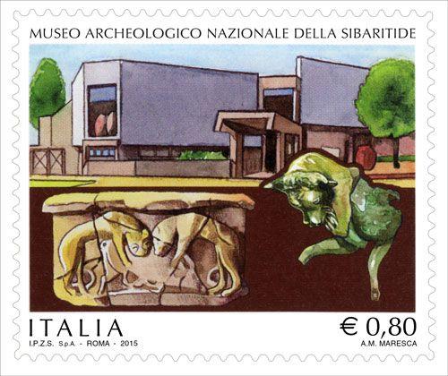 """Francobollo ordinario appartenente alla serie tematica """"il Patrimonio artistico e culturale italiano"""" dedicato al Museo Archeologico Nazionale della Sibaritide"""