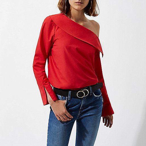 d173dcc9a4f8f7 Red one shoulder long sleeve top - bardot   cold shoulder tops - tops -  women