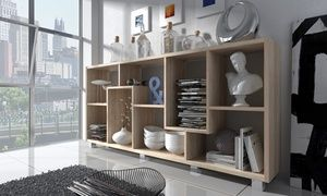 This shelving unit can be placed both horizontally and vertically and it can be used for storing decorative items or as a bookshelf