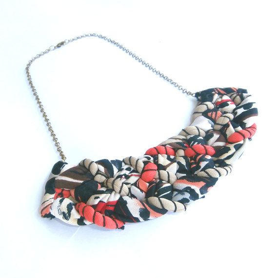 Colorful Tribal Bib Necklace Beige Coral Black by FabricTwist