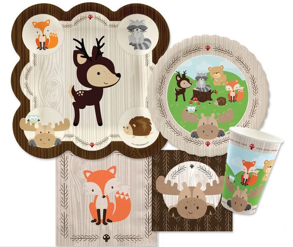 We love this woodland animals baby shower theme and after for Animal party decoration