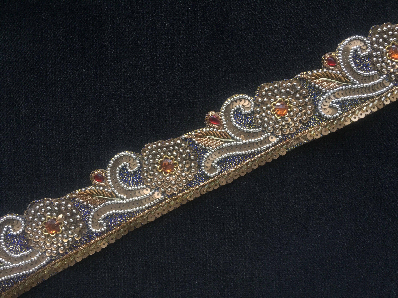 2cm Gorgeous and unique multi-coloured with gold sequins lace trim 1 metre