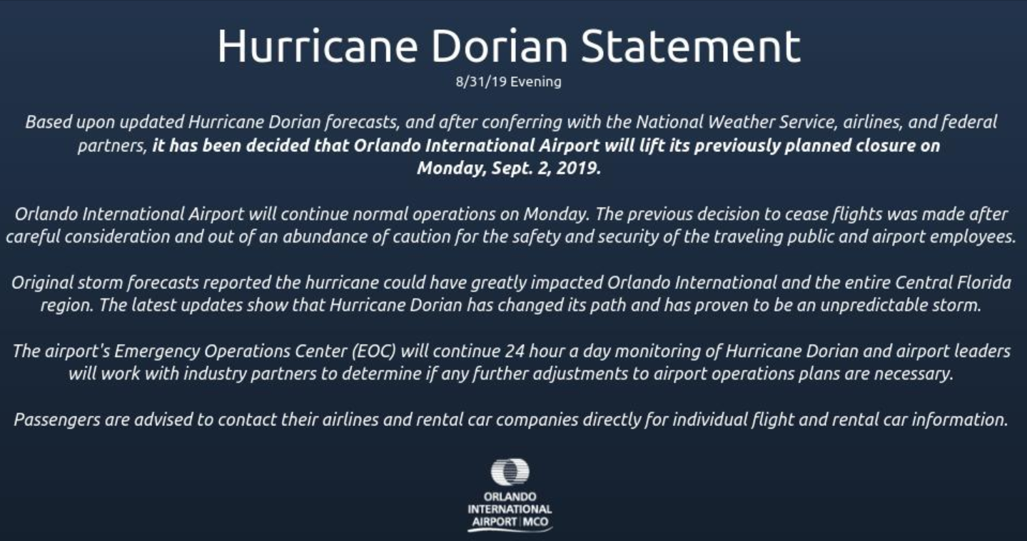 Orlando International Airport Will Continue With Operations On Monday September 2nd Orlando International Airport International Airport Orlando Airport