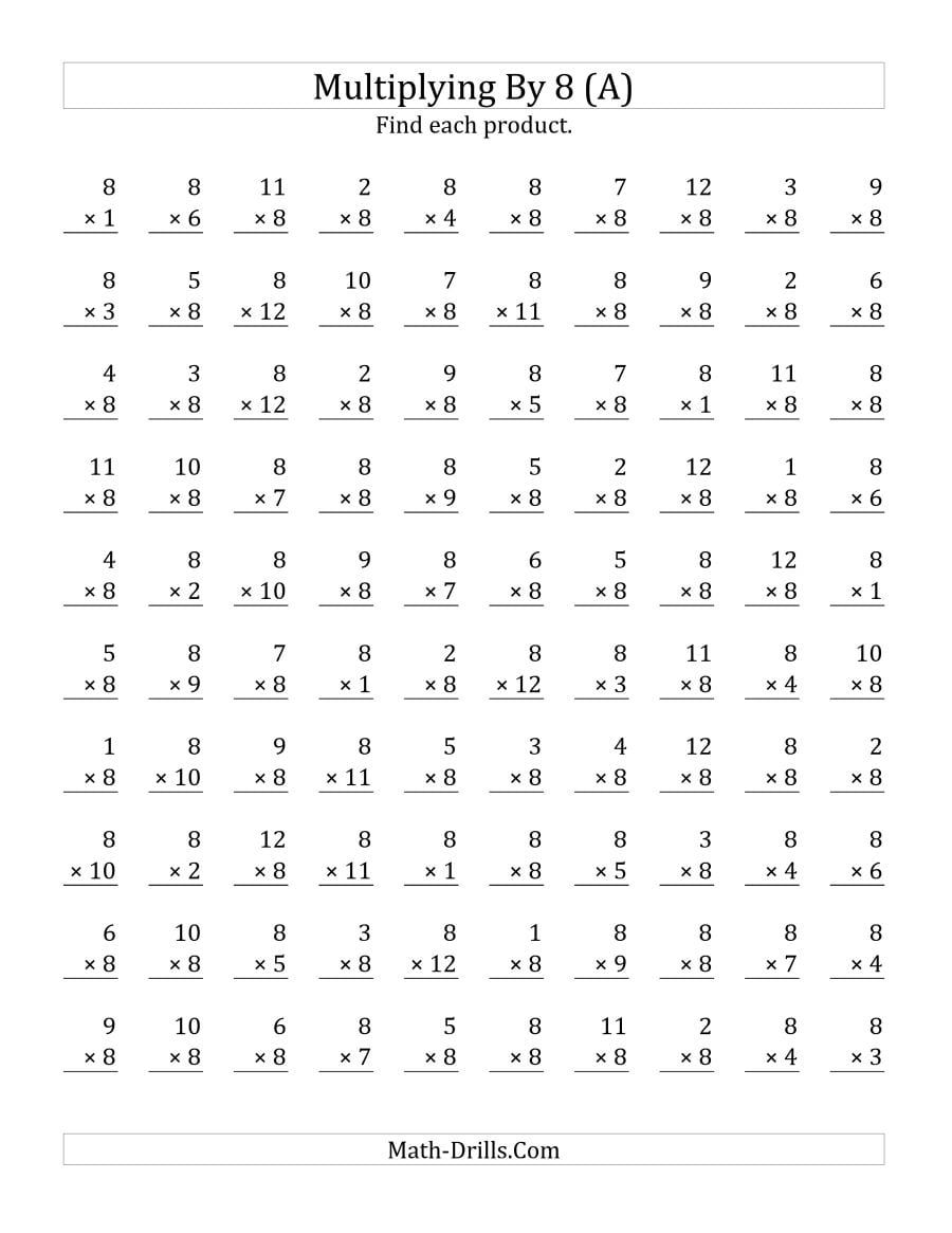 Multiply By 8 Worksheets Math Fact Worksheets Printable Multiplication Worksheets Free Printable Math Worksheets