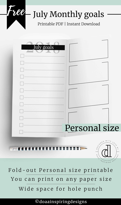 Monthly Goals Printable Planner Setting Goal Planner Doaa