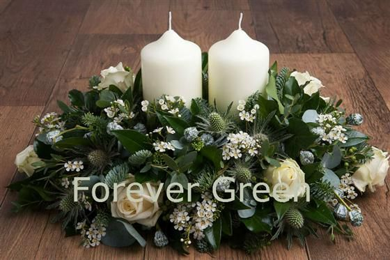 Christmas Table Arrangement - Long Low with Candle - Whites