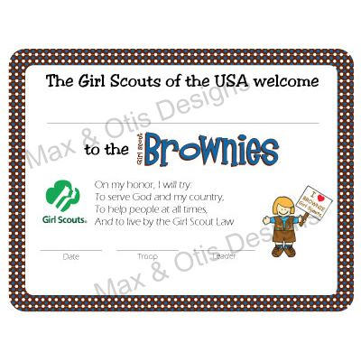 Girl Scout Brownies Investiture Certificate - now fillable ...