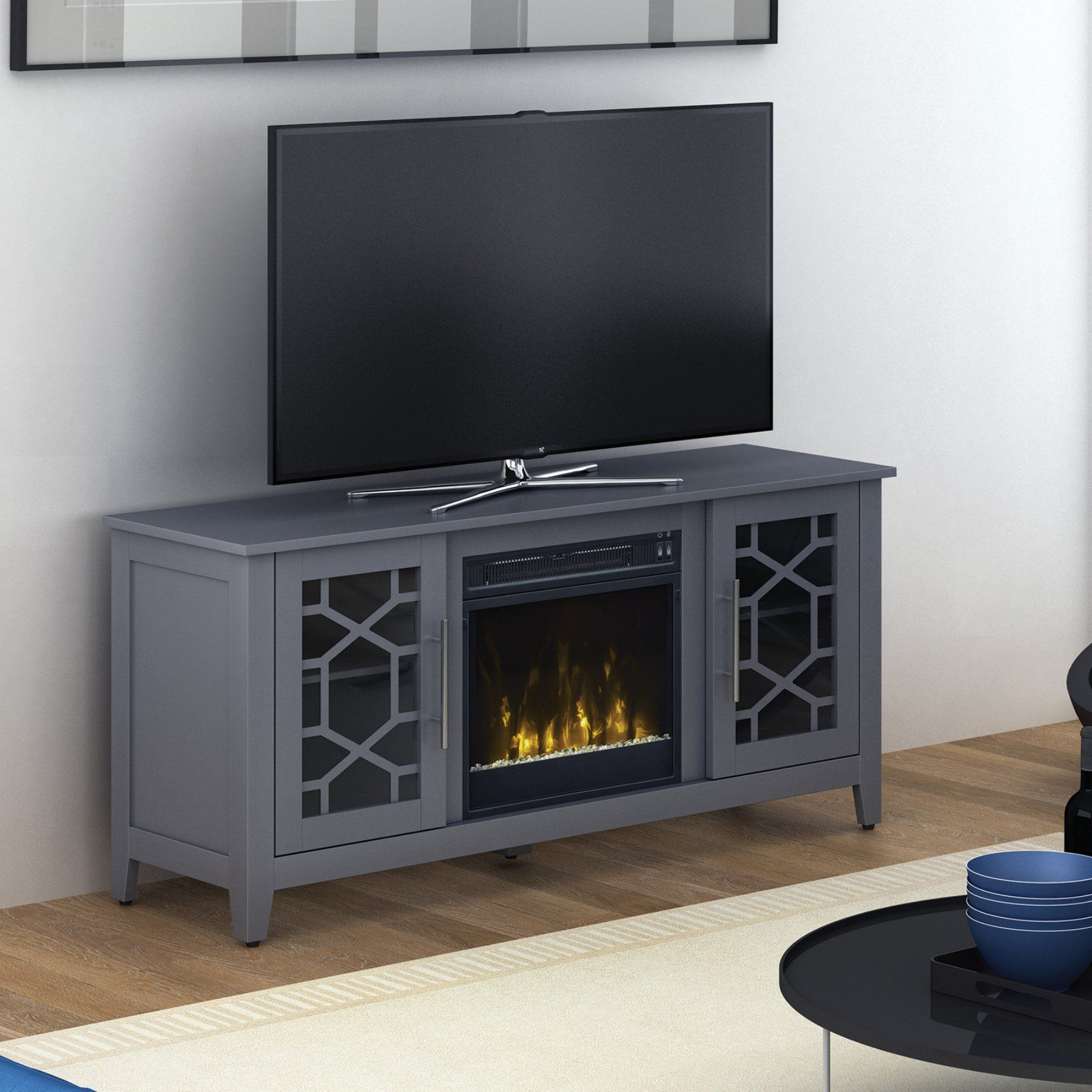 classic flame clarion 60 in tv stand with electric fireplace