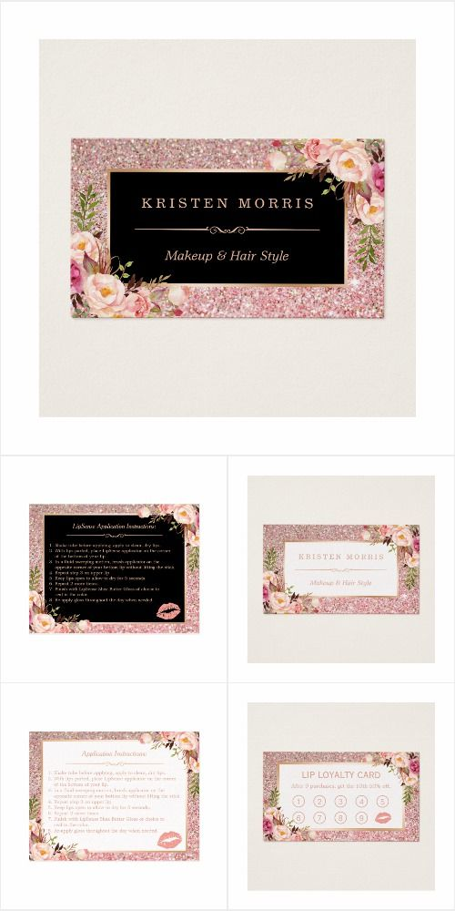A Trendy Rose Gold Glitter Floral Business Card Suite, with items ...