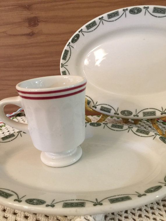 Restaurant Ware Diner Ware 2 Oval Plates by PineStreetPickers & Vintage Restaurant Ware | 2 Oval Plates | Red Stripe Mug | Syracuse ...
