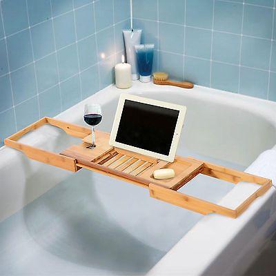 Bathtub Wooden Storage Organiser Rack Bathroom Bath Shelf Unit Tray ...