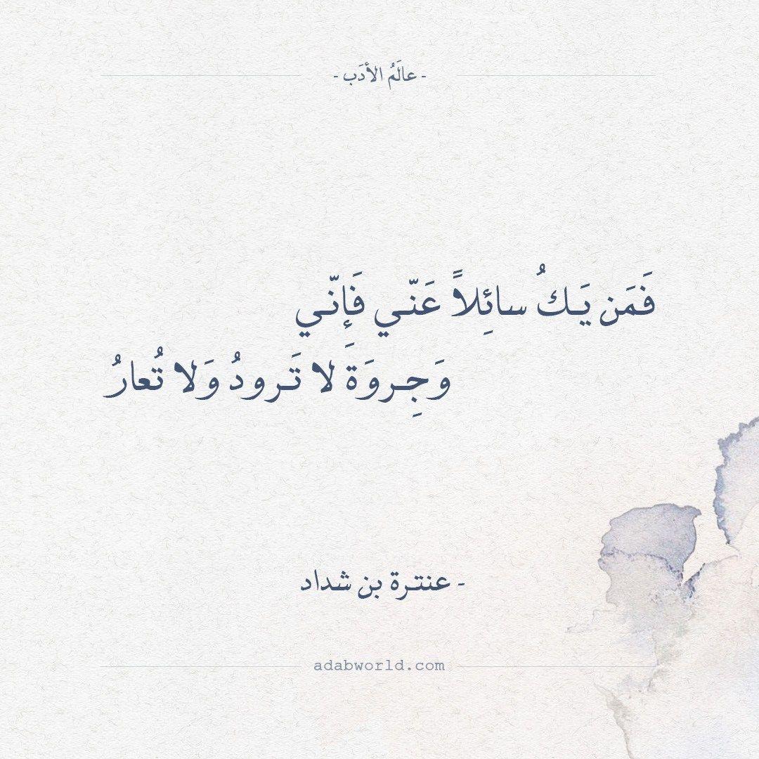 شعر عنترة بن شداد فمن يك سائلا عني فإني عالم الأدب Arabic Calligraphy Math Calligraphy
