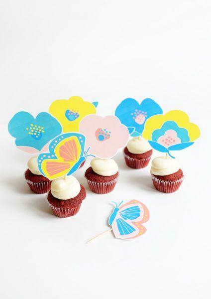 toppers imprimibles para cupcakes mariposas y flores fiestas y cumples - Fiestas Y Cumples