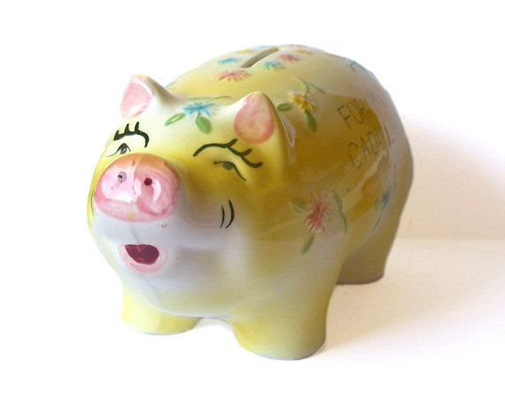 Vintage Yellow Piggy Bank 'For My Cadillac' by MargsMostlyVintage, $23.00