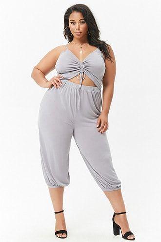 db937e4c437 Plus Size Ruched Drawstring Cutout Cami Jumpsuit