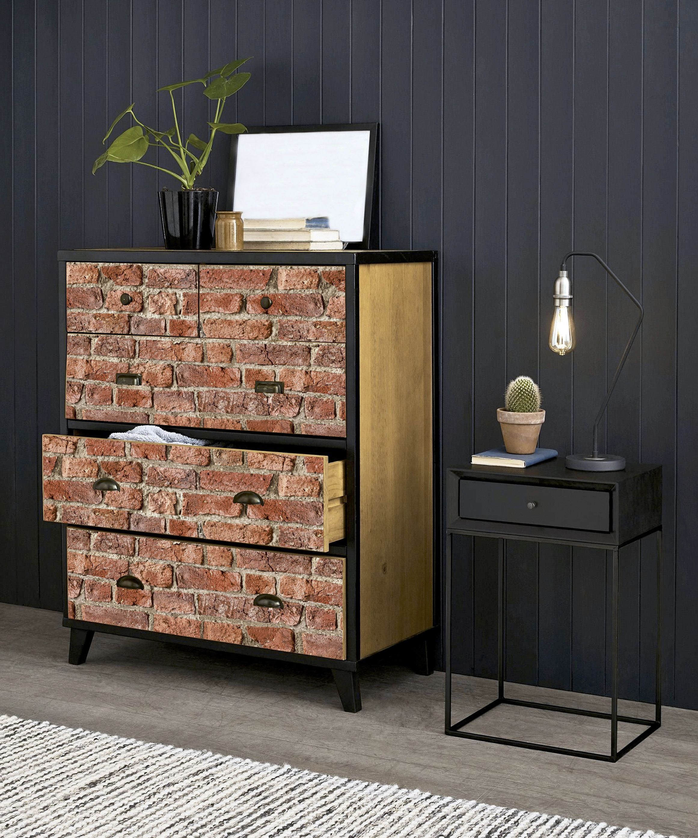 Artistick Urban Brick Red Peel And Stick Non Woven Wallpaper 300203 The Home Depot Brick Design Upcycled Furniture Brick Red
