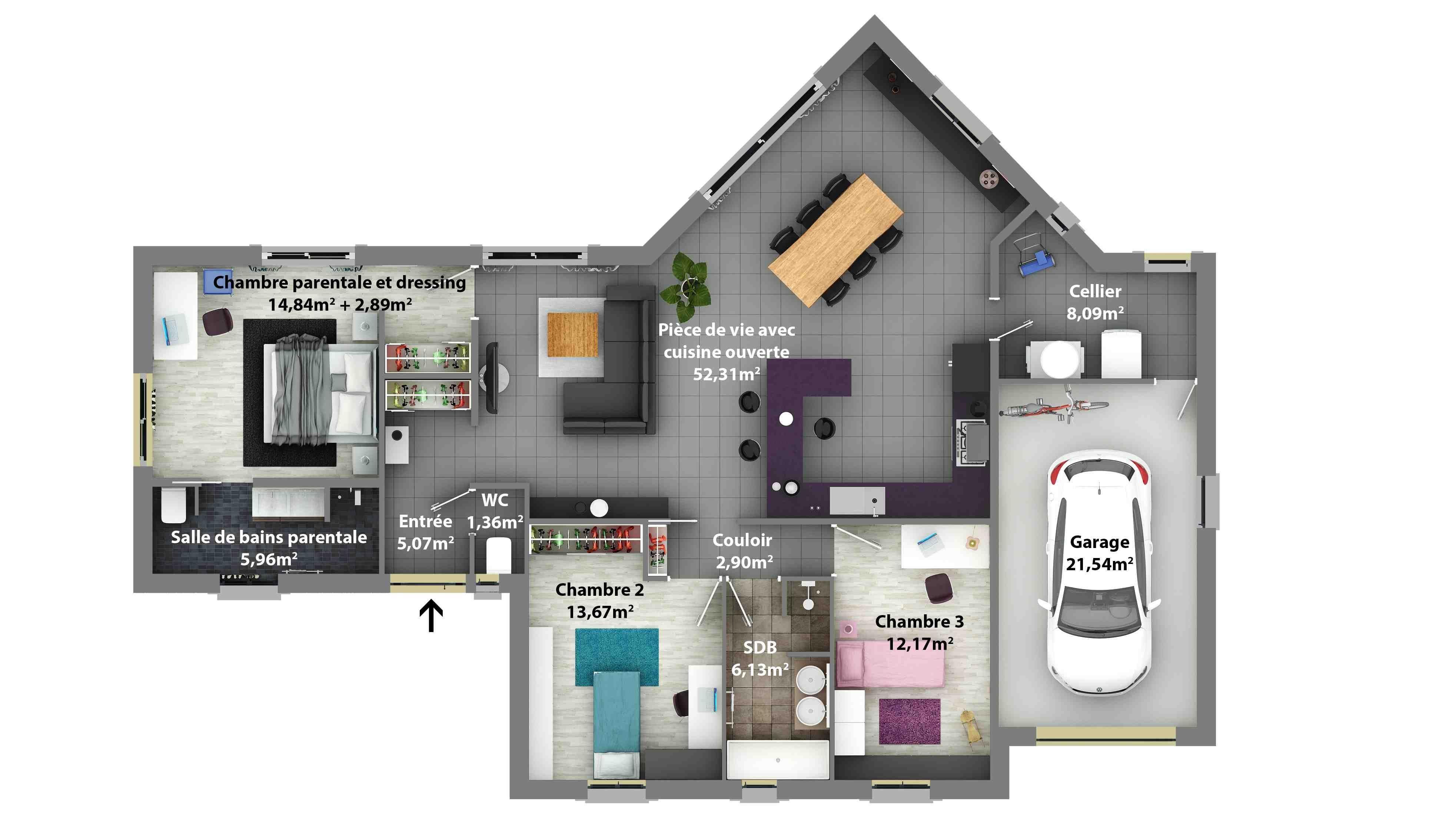 plan de maison excellence plain pied 2 chbres. Black Bedroom Furniture Sets. Home Design Ideas