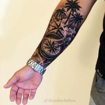 Palm Tree Tattoo Wrist Men 70 Ideas Cool Tattoos For Guys Tattoos For Guys Half Sleeve Tattoos For Guys