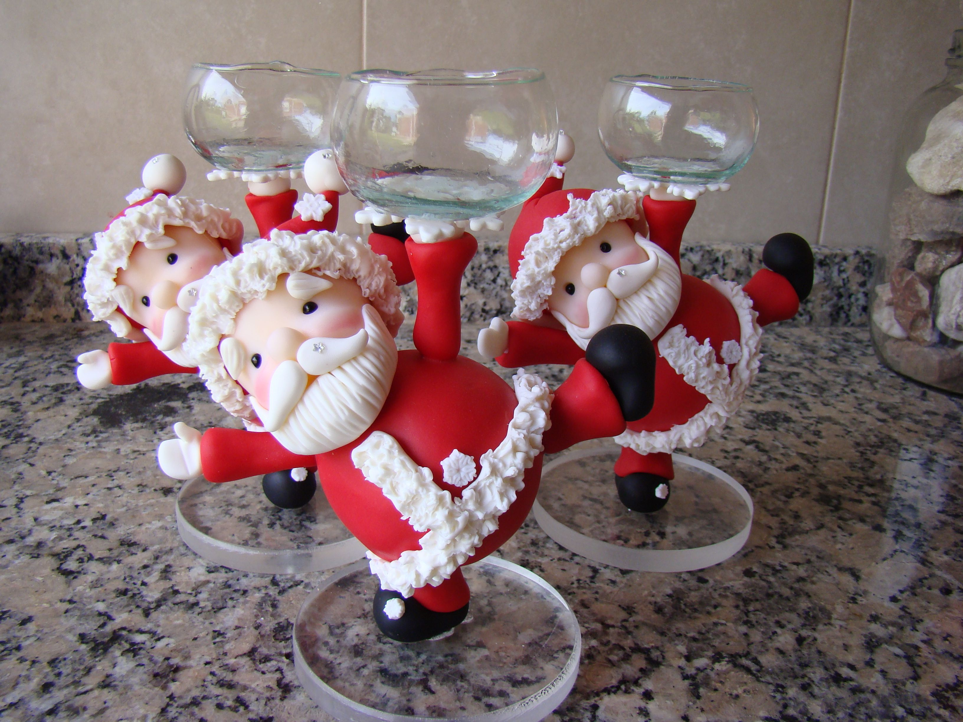 Papa noel realizado en porcelana fria navidad en for Adornos navidenos en porcelana fria utilisima