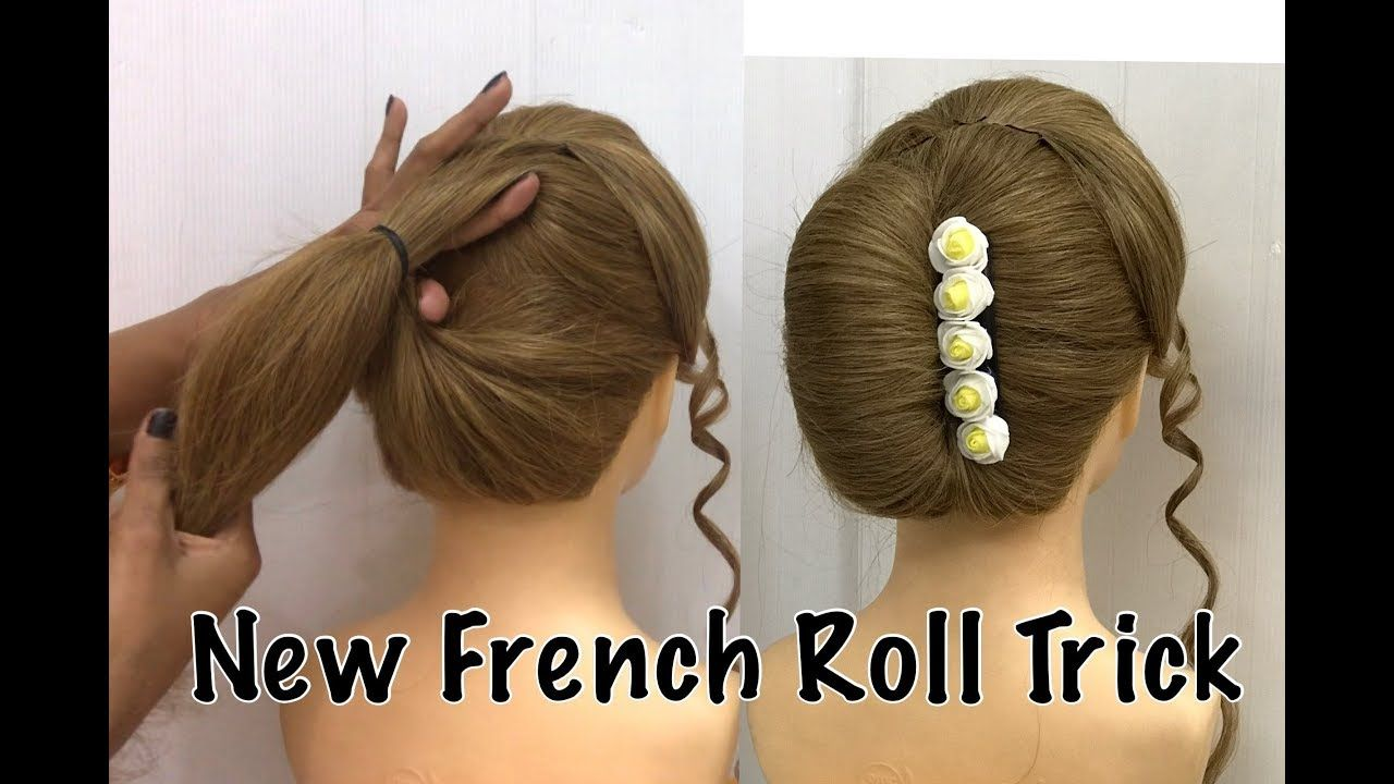 French Bun Hairstyle Trick French Roll French Twist Hairstyle French Hairstyles Youtube Roll Hairstyle Bun Hairstyles French Twist Hair
