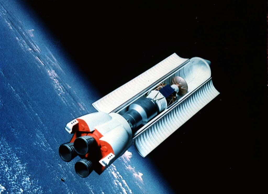1989 NASA concept art for the ShuttleC, an unmanned heavy