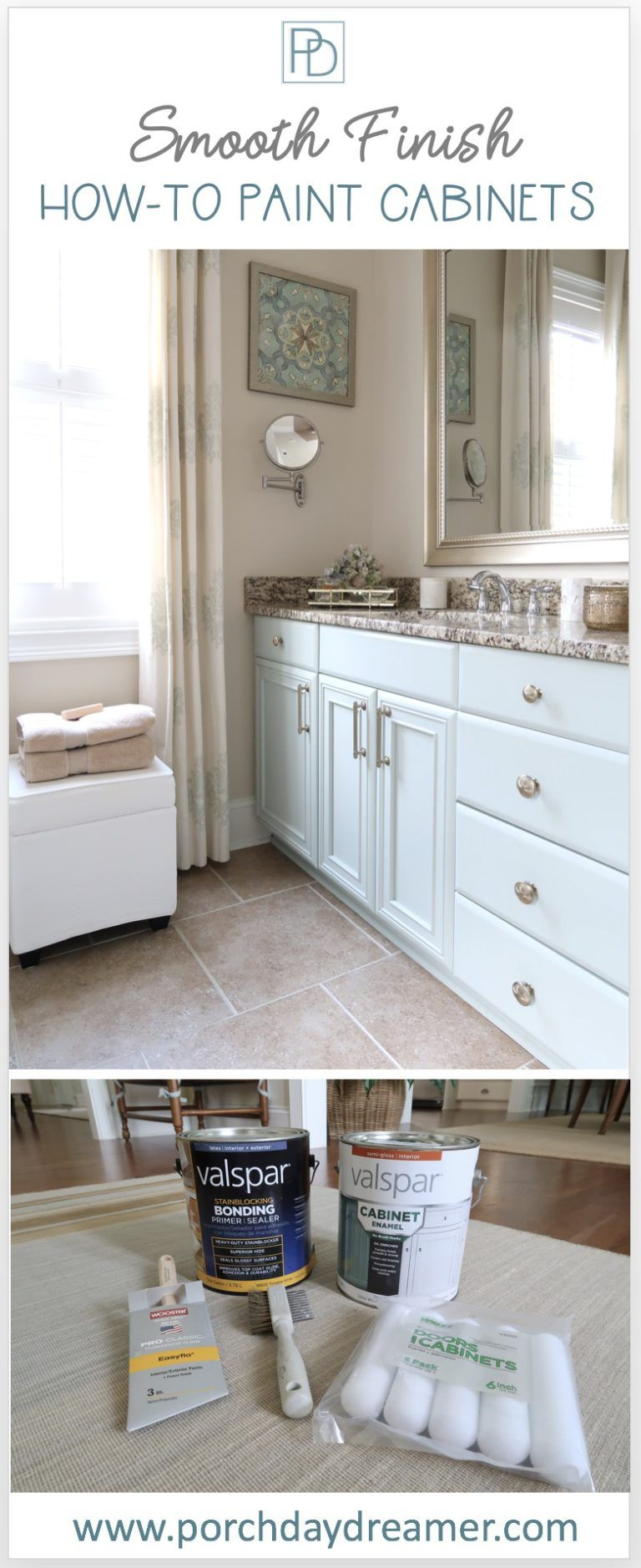 How To Paint Cabinets And Get A Smooth Finish With Images Painting Bathroom Cabinets Painting Cabinets Bathroom Cabinets Diy